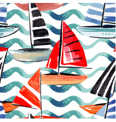 Sailing boats watercolor seamless background vector