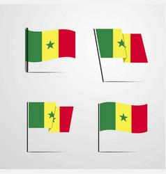 Senegal waving flag set design vector