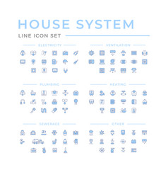 Set color line icons house systems vector