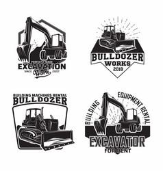 Set excavation work emblems design vector