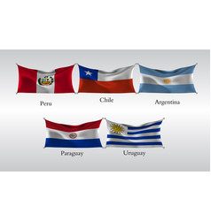 Set flags americas waving flag peru vector