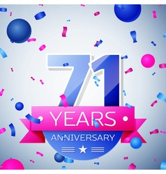 Seventy one years anniversary celebration on grey vector