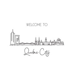 Single continuous line drawing quebec skyline vector