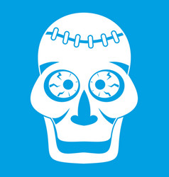 Skull icon white vector