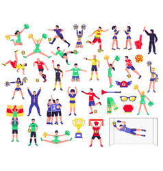 soccer fan characters set vector image