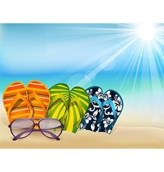 Summer beach sandals colorful flip- flops with sun vector