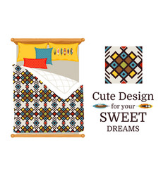 Sweet dreams bed sheets geometric pattern vector