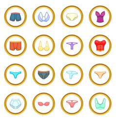Underwear icons circle vector