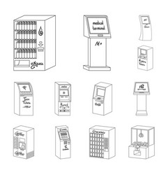Variety of terminals outline icons in set vector