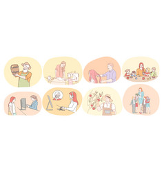various professions and occupation concept vector image
