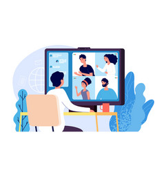 video conference people group on computer screen vector image
