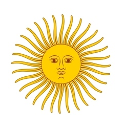 Vintage retro sun bright color on vector