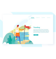 web banner template with backpacker hiker vector image
