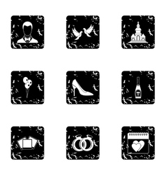Wedding icons set grunge style vector