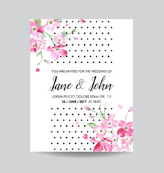 wedding invitation spring cherry flowers vector image