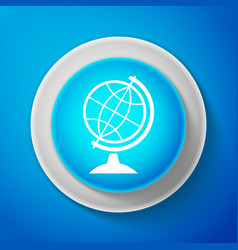 white earth globe icon isolated on blue background vector image
