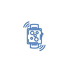 wireless smart watch line icon concept wireless vector image