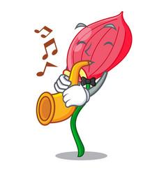 With trumpet anthurium flower pink in cartoon vector
