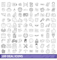 100 deal icons set outline style vector image