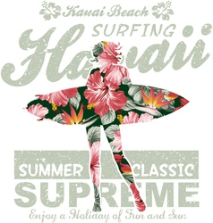 Floral Hawaii surfing vector image vector image