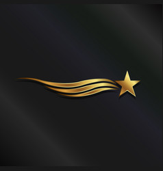 gold star waves vector image vector image
