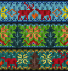 Knitted background with Christmas ornament vector image