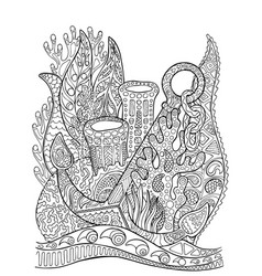 anchor in coral reef adult coloring page vector image vector image