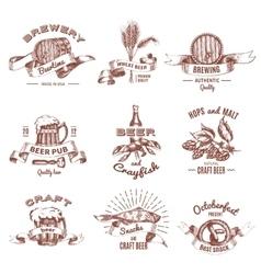 Beer Vintage Style Emblems vector image