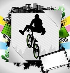 bmx biker summer background vector image vector image