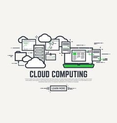 Cloud line computing vector image