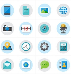 Flat Icons For Media Icons and Communication Icons vector image vector image