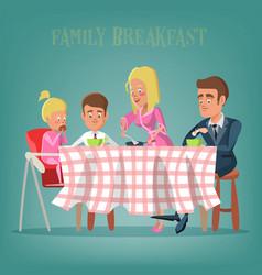 happy family having breakfast in kitchen vector image vector image