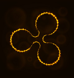 ripple digital currency silhouette of lights vector image