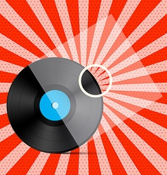 Vintage Retro Red Background with Vinyl LP Record vector image vector image