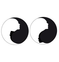 yin yang sign man and woman vector image vector image