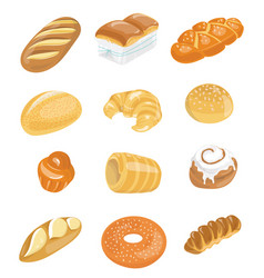 bread icons set for bakery shop collection of vector image vector image