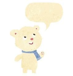 cartoon polar bear wearing scarf with speech vector image vector image