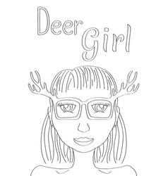 Deer girl coloring page cute girl black line vector