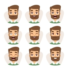 Faces characters mosaic of young beard man vector image