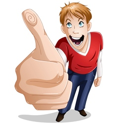 Guy Smiles With Thumbs Up vector image vector image