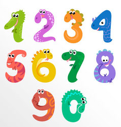 Numbers like dinosaurs vector image vector image
