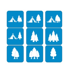 Set of tourist tent and forest icons vector image vector image