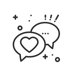 speech bubble with heart line icon conversation vector image