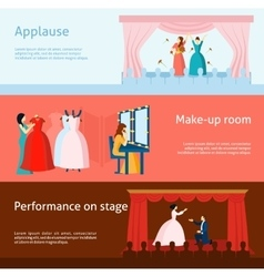 Theater performance flat banners set vector image vector image