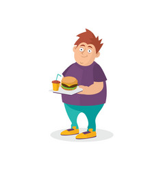 Young fat guy holding hamburger and sweet drink on vector