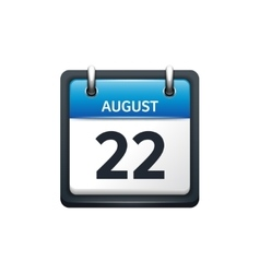 August 22 Calendar icon flat vector image vector image