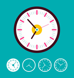 clock set on blue background time icons vector image