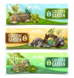 landscape garden design horizontal banners set vector image vector image