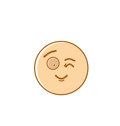 smiling cartoon face winking positive people vector image vector image