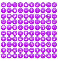 100 childrens playground icons set purple vector